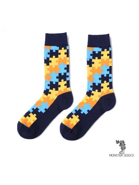 Шкарпетки з пазлами чорні
