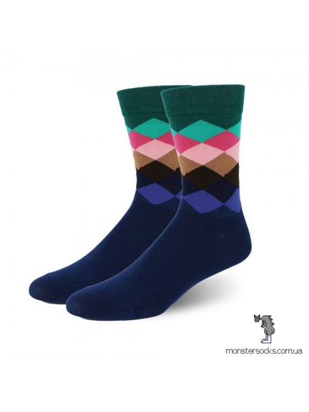 Шкарпетки з темними візерунками в ромб