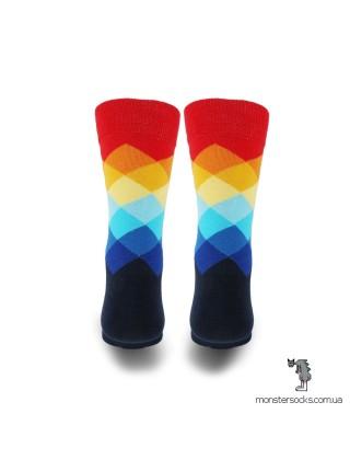 Шкарпетки з різнобарвним візерунком в ромб